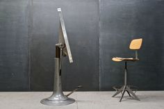 Sweden, c.1950s. Industrial Architects Vintage Hydraulic Drafting Table by Nike of Eskilstuna, Sweden. Cast Iron and Polished Steel Base, Micarta and Wood Drawing Surface, 2¼ Inch Top, Stainless Steel Edge Banding. Fully Functional, Smooth and Silent Hydraulic Foot Pedal Elevation System. W: 42 x D: 30 x H: 30-56¼ in. Modern Drafting Tables, Vintage Drafting Table, Modern Industrial, Vintage Industrial, Industrial Design, Nike Drawing, Furniture Decor, Furniture Design, Wooden Tops