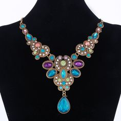 Statement Necklace 2016 New Vintage Jewelry Colorful Crystal Beads Choker Necklace Fashion Bijoux Pendants Necklace For Women