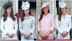 The Duchess at Trooping the Colour.  I like 2014's fascinator best!  Her choice of dress / coat is always beautiful.