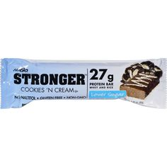 NuGO Nutrition Bar - Stronger Cookies N Cream - 2.82 oz - Case of 12 - Powered by ultra-pure, premium-grade WHEY protein blend with no artificial growth hormones and No Soy Ingredients, NuGO STRONGER amazingly delicious sports protein bars represent the ultimate combination of outrageous flavor and function. NuGO STRONGER is Lower Sugar* (no sugar alcohol Maltitol) , Gluten-Free, Non-GMO and packed with 25g of a premium-grade protein blend, powered by high-quality rBGH-free whey protein. An…