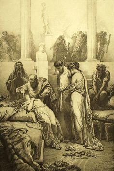 Mihály Zichy - Illustration to Imre Madách's The Tragedy of Man: In Rome (Scene 6)  1887