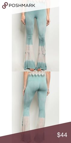 New blue tie dye bell bottom pants Made in the USA  Fabric Content: 94% RAYON 6% SPANDEX Pants