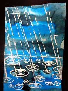 Watercolor resist - lesson on water droplets and ripples - texture, color theory, shadow - how would droplets look striking pavement/water/leaves etc?-- Use watercolor resist to draw the Parthenon?