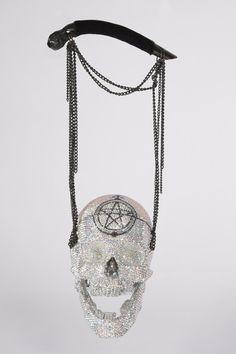 RICHARD HIBLESignature Skull Evening BagsSwarovski Editions pic #1      'L'Aurora Boreale, Reves Wiccan'Swarovski Crystal Skull Handbag