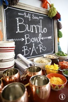 easy burrito bowl bar - a great idea for parties!