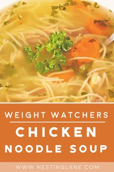 Weight Watchers Chicken Noodle Soup Recipe - A quick and easy healthy dinner recipe with celery, carrots, onions, thyme, parsley, and spaghetti. A kid-friendly recipe. Ready in 20 minutes. MyWW points: 1 Blue Plan Point and 3 Green Plan Points - 1 WW Freestyle Point and 3 SmartPoints Celery Recipes, Chicken Kabob Recipes, Ww Recipes, Healthy Recipes, Healthy Soups, Healthy Eating, Plats Weight Watchers, Weight Watchers Soup, Weight Watchers Chicken Noodle Soup Recipe