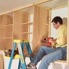 Installing Large Garage Cabinets - Step by Step   The Family Handyman. I want to use this method on bedroom wall.
