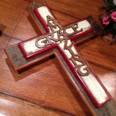 Jesus or amazing grace Meet me at the cross Made from Reclaimed wood. Distressed edges Measures 16 x 21 Come like us on Facebook