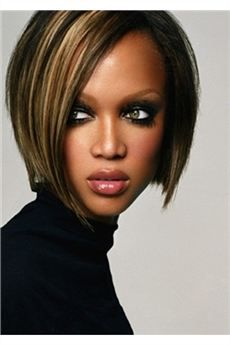 Custom Tyra Banks Hairstyle Lace Front Wig Straight 100 Human Hair 10 Inches