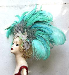 Feather Showgirl Headdress, One of a Kind, Las Vegas Showgirl, Dance Costume, Headpiece, Burlesque,Halloween, Mermaid, Aqua Green, Silver