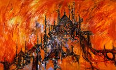 The Burning of the Carrion House Diptych by CliveBarker.deviantart.com