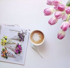 Coffee and flowers...
