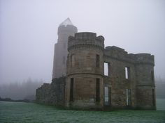 Eglinton Castle in Fog, Irvine, Ayrshire In the book, Prickly Scots, I created a castle based on this place (Eggy Castle) where I hung out as a child (although I called it Eglington). Good memories.