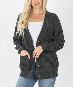 Charcoal Waffle-Knit Button-Up Pocket Cardigan - Women & Plus | Zulily