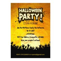 Bright Orange Grunge Halloween Party Invitation - Halloween happyhalloween festival party holiday