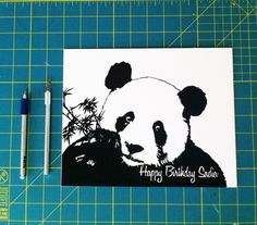 Personalized Happy Birthday Panda Hand-Cut Paper by cooperscuts