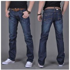 aaa4443e24b Free shipping Autumn and winter men s denim jeans straight pants jeans men  in dark blue high