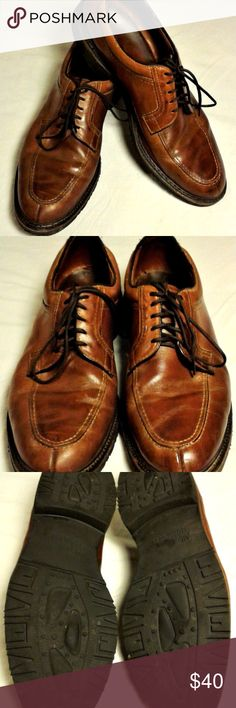 """Allen Edmonds Mens Shoes Wilbert Model 1951 This stitched toe oxford in brown natural chromexcel leather is the perfect match for chinos and jeans. The uppers are free of nicks and cuts but do show some scuffs and natural color variations in keeping with a shoe that has been gently worn. The rubber soles are solid with tons of life left in them. The insoles are clean and free of odors. The heel insole slightly lifts and has some cracks (see last two pics).  Full length: 13"""" Width: 4.5 Allen…"""