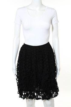 a1f74d3cb6 (eBay Sponsored) Catherine Malandrino Black Cotton Eyelet Knee Length A Line  Circle Skirt Size
