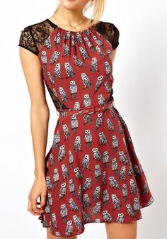 Owl Print Lace Dress
