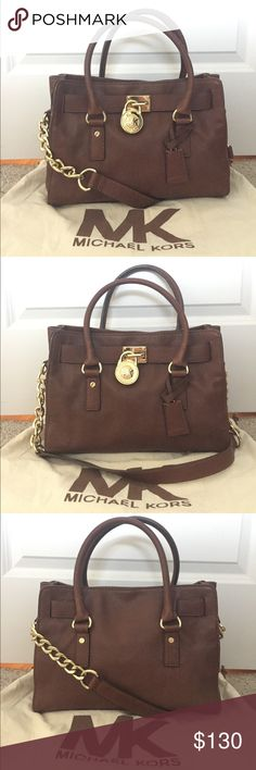 """Michael Kors Medium Hamilton Satchel Bag Michael Kors brown leather medium Hamilton satchel. Gold hardware. Pre-loved but in great condition. No damage, just very minor scuffing to gold hardware on bottom of bag. Dust bag included. Really just don't use enough anymore which is why I'm selling. Measurements: 12.5"""" L x 9"""" H x 5"""" D. Michael Kors Bags Satchels"""