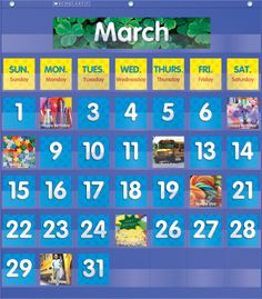 A Monthly Calendar Pocket Chart for teaching the calendar, including cards for birthdays, field trips, and other special days! Find this in the Classroom Essentials Catalogue: OPUS 2027458 Page 36. See the pages here: http://scholastic.ca/clubs/cec/