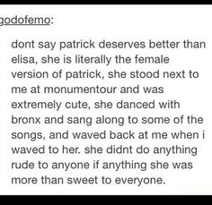 "Yesss. I hate it when people hate on Elisa, I've seen someone say they wanted to stab her in the neck. Patrick is happy with her, and wouldn't have married her or had a baby with her if he wasn't. Why not be happy for him? I'm sure he would be very upset to see ""fans"" say horrible things about the woman he loves."