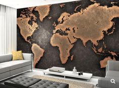 world map 3d MURAL Wallapeper nature nauture mural by 4KdesignWall
