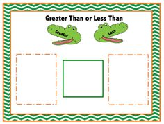 Free Alligator Greater of Less Than Mat and Numbers ~ Preschool Printables