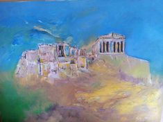 Acropolis wall art, athens, blue orange , Greece, abstract,colourful,Greek,paint,artistic, original,acrylic on canvas,historic monument,