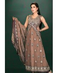 Brown Embroided A-Line Ankle Length Crinkle Chiffon Evening Wear Party Dress