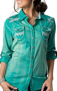 Roar® Women's Tighten II Teal Green with White Embroidery and Crystals Long Sleeve Western Shirt   Cavender's