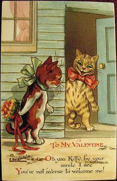 Rare Louis Wain Signed Valentine Postcard--Kitty Romance..