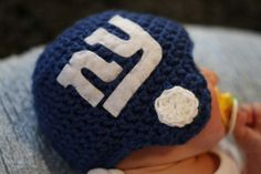 NY Giants Crocheted Football Helmet Baby Beanie