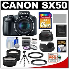 Canon PowerShot SX50 HS Digital Camera (Black) with 16GB Card + Case + Battery + Tripod + 2 Lens Set + 3 UV/FLD/CPL Filters + Hood + Accessory Kit by Canon. $489.95. Kit includes:♦ 1) Canon PowerShot SX50 HS Digital Camera (Black)♦ 2) PD-C20 Digital Camera/Camcorder Case♦ 3) Transcend 16GB SecureDigital Class 10 (SDHC) Ultra-High-Speed Card♦ 4) Spare NB-10L Battery for Canon♦ 5) Bower FA-DC67A Adapter Ring for Canon PowerShot SX40 HS & SX50 HS Digital Camera (67...