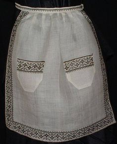 19th C. blackwork apron. Love the needle lace on the trim!
