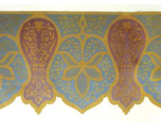 border for turret Stencil Fabric, Stencil Patterns, Wall Patterns, Stencils, Wall Paint Inspiration, North Asia, Funky Painted Furniture, Old World Charm, Extreme Sports