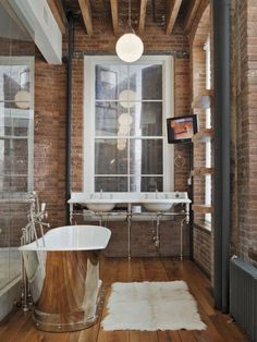 Exposed Brick Bathroom Design Ideas, Pictures, Remodel and Decor Brick Bathroom, Loft Bathroom, Eclectic Bathroom, Modern Bathroom, Bathroom Interior, Simple Bathroom, Washroom, Silver Bathroom, Vintage Bathrooms