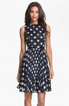 Adrianna Papell Burnout Polka Dot Fit   Flare Dress (Regular   Petite)  White Polka 3f88cd8f1
