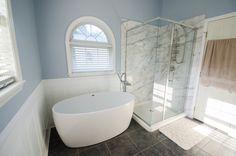 Bathroom Makeover - Bathroom Remodel - Re-Bath Remodel - Bathroom Trends - Freestanding Tub, All Glass Walk-in Shower, Oversized Walk-in Shower, Durabath Wall Surround, Re-Bath Remodel