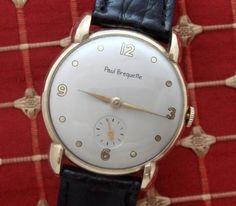 HANDSOME-Men-s-1944-Paul-Breguette-Solid-Gold-Dress-Wristwatch-SERVICED