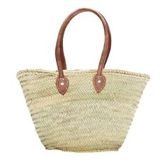 SEVILLE. French Market Basket, with Long Leather Handle, Natural - Indigo&Lavender - $29.99 - domino.com