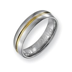 Men's 6.0mm Engraved Titanium with 14K Gold Inlay Wedding Band (27 Characters) He likes this one