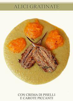 Gratin of anchovies with cream of pea and spicy carrots // Alici al forno con crema di piselli e carote piccanti