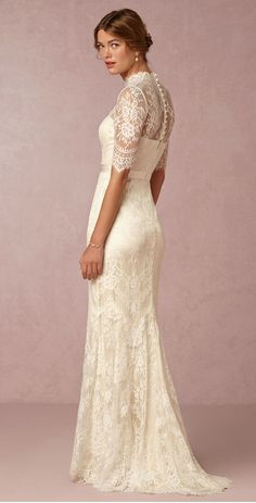 #Lace #wedding dress with sleeves ' Bridgette' Gown from @BHLDN #coupon code nicesup123 gets 25% off at Skinception.com