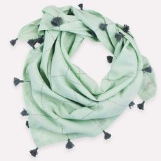 Square Scarf with Tassels - Mint Grid | Anchal Project