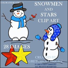 Snowmen and Stars Clip Art from Endless Teaching Ideas by Gretchen Ebright on TeachersNotebook.com -  - Adorable snowmen clip art can be used during the Holidays and right through the winter season! The stars can also be used at anytime!