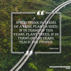 If you think in terms of a year, plant a seed; if in terms of ten years, plant trees; if in terms of 100 years, teach the people - Confucius Quotes, Pretty Much, Steve Jobs, Planting Seeds, Trees To Plant, Personal Development, Thinking Of You, Innovation, The 100