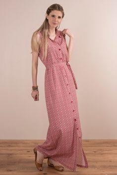Vestido Chemise Longo Retro Pink