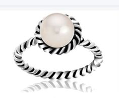 Sterling Silver Freshwater Twisted Pearl Ring Size 7 Stunning Ring | eBay